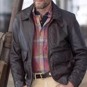Bowery Bomber Flight Jacket Bill Khakis Leather L